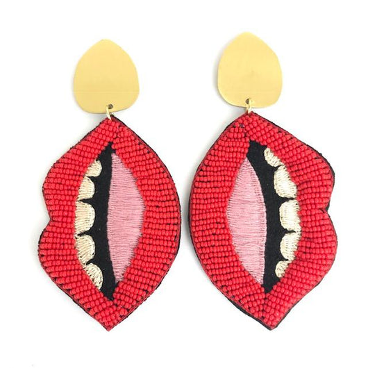 Zest Marketplace Allie Beads Collection Red Seed Bead Lips