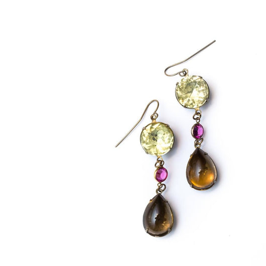 Laura James celadon, pink and amber drop earrings