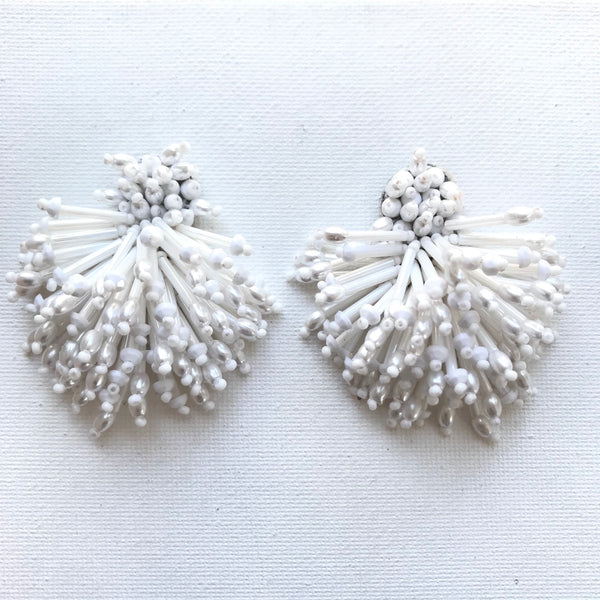 White Burst Earrings