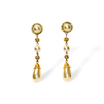 Zest Marketplace gold, pearl and rhinestone drop earrings