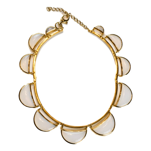ann lyst gold pave taylor metallic necklace jewelry scallop in