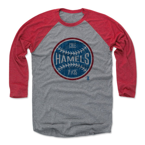 Mens Baseball T-Shirt Red / Heather Gray