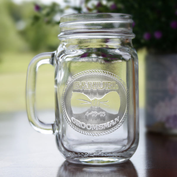 Best Man Engraved Personalized Gifts, Wedding Mason Jars