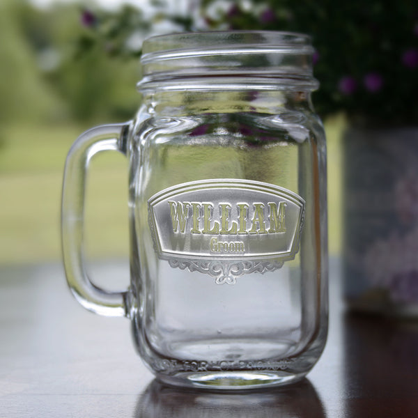 Groomsmen Engraved Mason Jar Gifts Favors