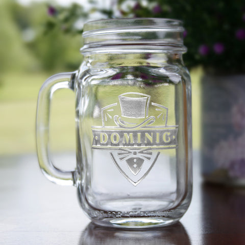Groomsman Gift Ideas, Engraved Mason Jars Wedding
