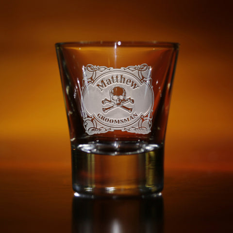 Skull and Bones Groomsman Shot Glass Gifts