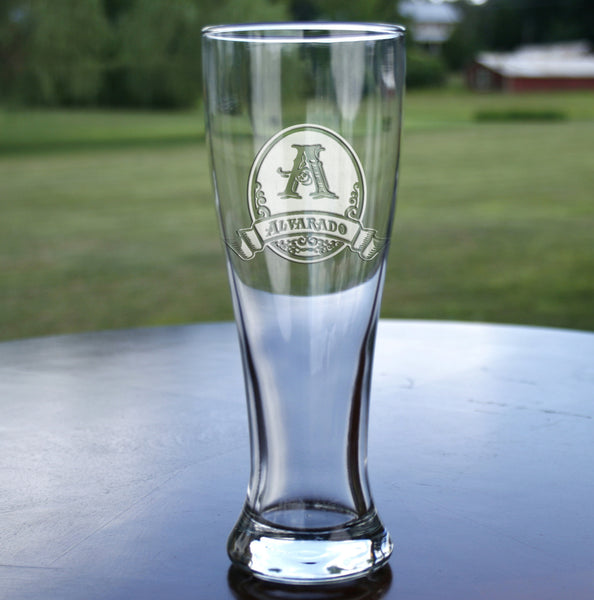 Engraved groomsmen gift ideas, pilsner beer glass