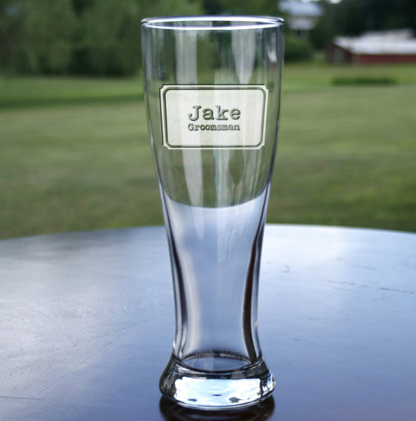 groomsman best man engraved pilsner beer glass gift