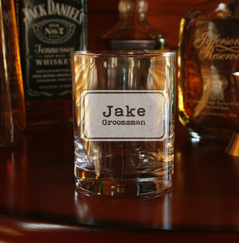 groomsman best man engraved gift whiskey bourbon scotch glass