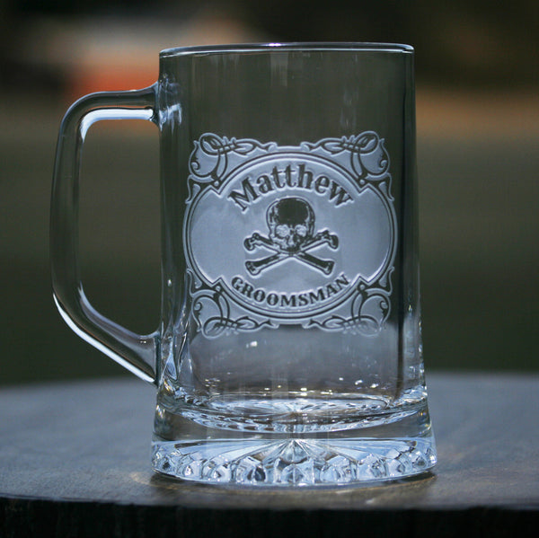 Skull and Bones Groomsman Beer Mug Gift