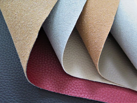 A selection of recycled eco friendly genuine leather fabrics by Punto Belle