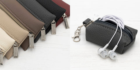 Punto Belle leather accessories pencil case and earphone pouch