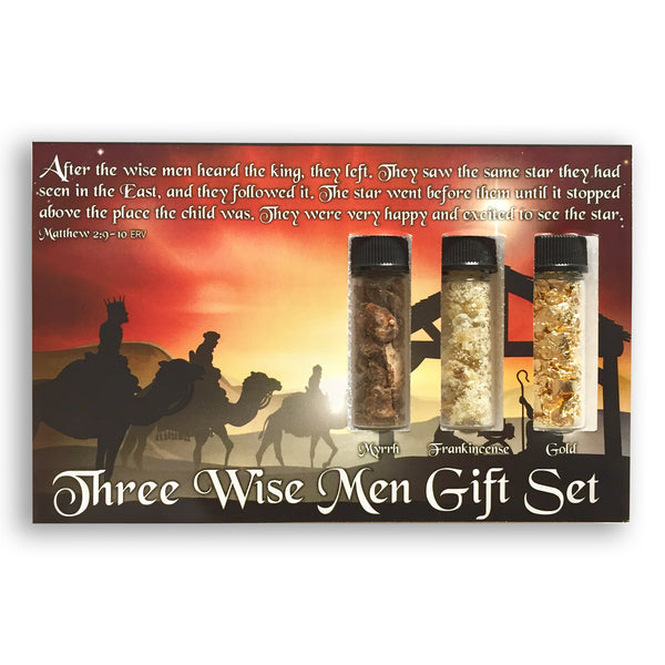 Three Wise Men Nativity Gift Set - Gold, Frankincense, Myrrh - Great Bible-Based Christian Christmas Gift!