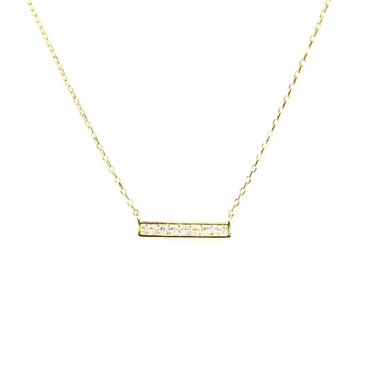 Gold Bar Necklace with tiny diamond (sterling silver covered in 16K gold)