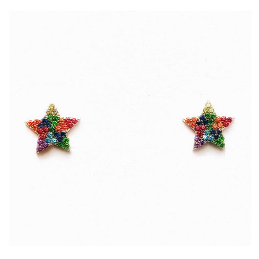Star Stud Earrings (clear crystal or rainbow in silver or gold) - Sweetwater Labs