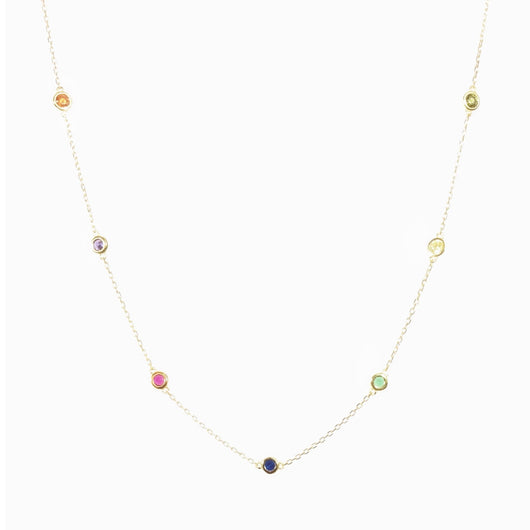 Rainbow Floating Choker Necklace (sterling silver or 16K gold)