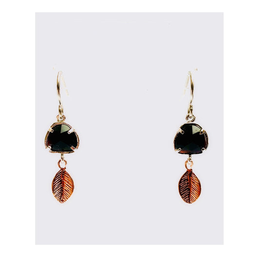 Small Energy Stone Leaf Earrings (various stone options)