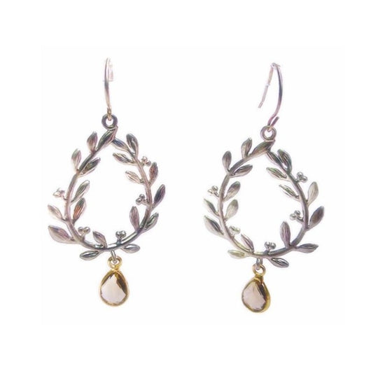 Laurel Leaf Earrings with Energy Stones (various stone options in gold or silver)