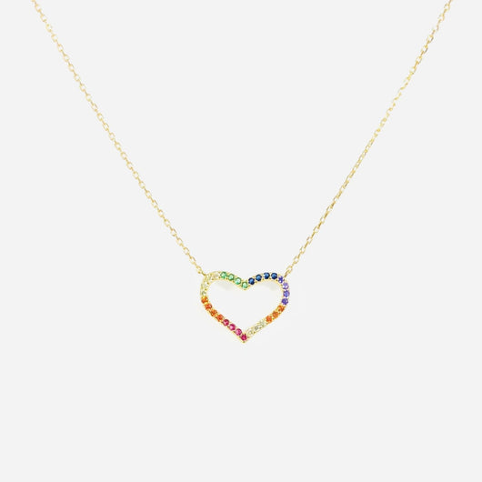 Rainbow Heart Necklace (sterling silver or 16K gold)