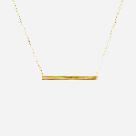 Long Bar Necklace with Crystal (sterling silver or 16K gold) - Sweetwater Labs