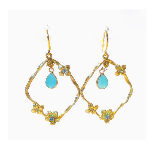 Twisted Gold Floral Earrings (Aquamarine) - Sweetwater Labs