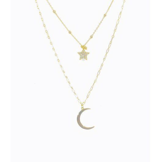 Double Chain Moon + Star Necklace (sterling silver covered in 16K gold) - Sweetwater Labs