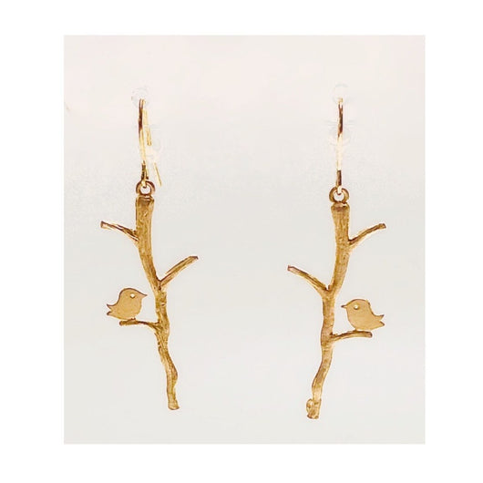 Bird Branch Earrings (gold or silver)