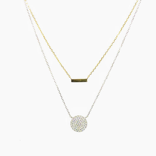 Double Chain Circle Gold Bar Necklace (sterling silver + 16K gold)
