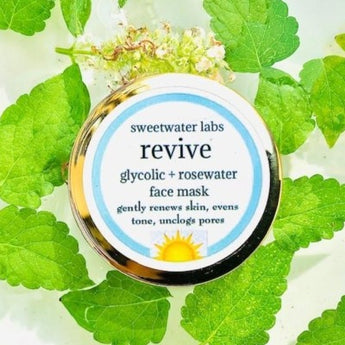 New! Revive Glycolic Acid + Rosewater Face Mask. Gently exfoliates leaving skin radiant!