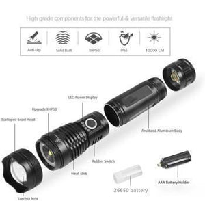 NAVY DEDICATED FLASHLIGHT HIGH LUMENS SUPER BRIGHT WATERPROOF (LIMITED STOCK) - USB RECHARGEABLE POWER DISPLAY POWERFUL TORCH HANDHELD LIGHT