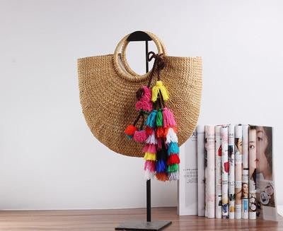 Beach straw summer bucket with tassels
