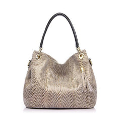 Embossed Shiny Serpentine Tote