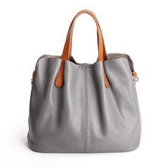 Genuine Leather Casual Tote in gray
