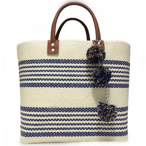 Jumbo straw hot beach tote with pompoms