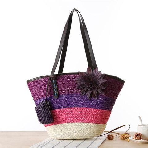 Knitted straw stripes colorful beach bag with flower