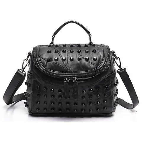 Luxury Sheepskin Studded Bag in black for night out style