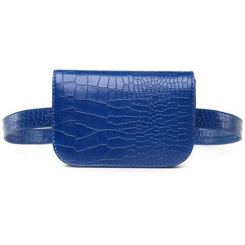 PU Leather Alligator Waist Bag in blue