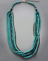 Turquoise Multilayers Necklace made of natural blue stones