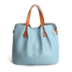 genuine leather pale blue big bag