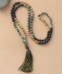 yoga necklace made of stone and lava beads