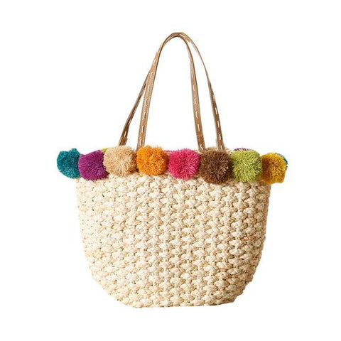 raffia corn skin beach bag