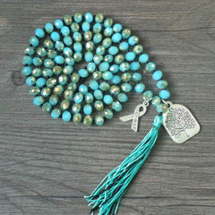 Unique green crystal beads bohemian mala necklace