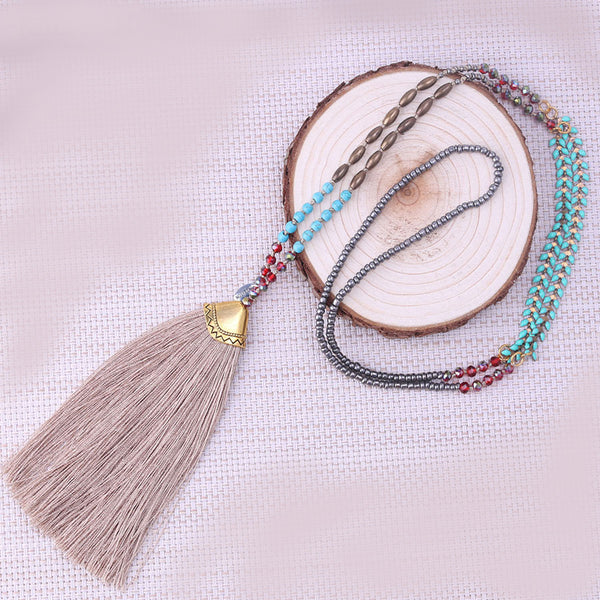 Long Beaded Crystal Tassel Necklace,  multi layered necklace, [product_collection], Lila's Beauty Bag