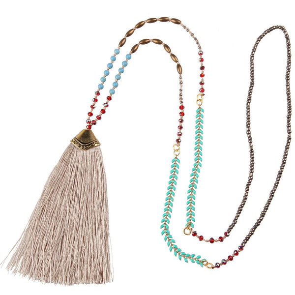 Long Beaded Crystal Tassel Necklace