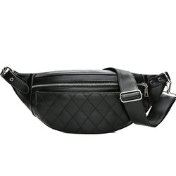 Black Plaid Pattern Belt Pack,  bag, [product_collection], Lila's Beauty Bag