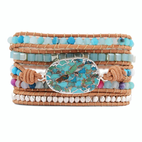 Unique Turquoise and Gemstones Wrap Bracelet