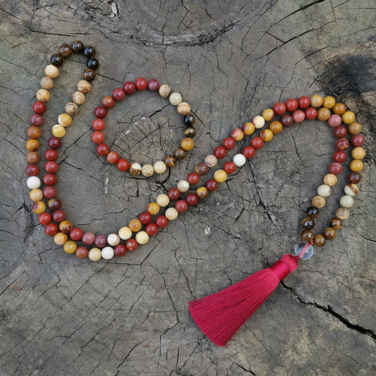 Tiger Eye and Mookaite Japa Mala