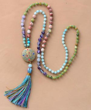 Jasper Nepal Long Tassel Necklace,  Mala, [product_collection], Lila's Beauty Bag