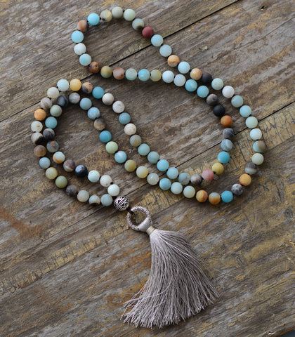Vintage Tibetan Amazonite Mala Necklace,  Mala, [product_collection], Lila's Beauty Bag