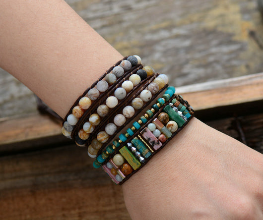 Boho Tube Onyx Leather Bracelet,  Boho, [product_collection], Lila's Beauty Bag